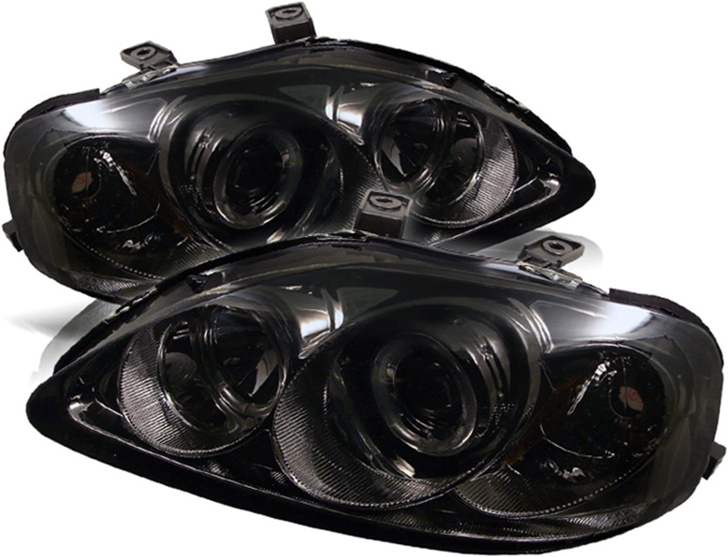 Fit 99-00 Civic Chrome Dual Halo LED Projector Headlights+Clear Fog Lamps