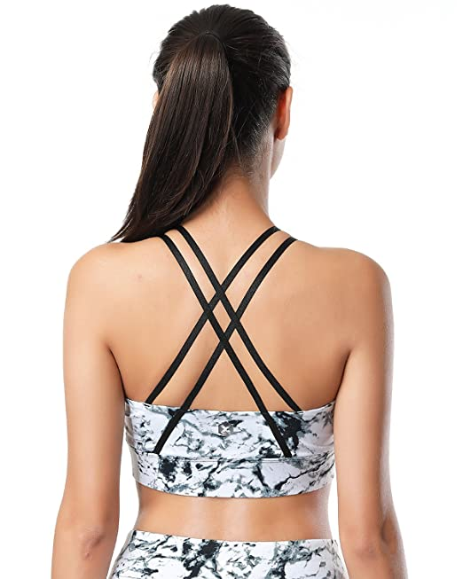 X-HERR Mujer Sujetador Deportivo Running Cruzado Espalda- Sujetadores Fitness Yoga Con Relleno (