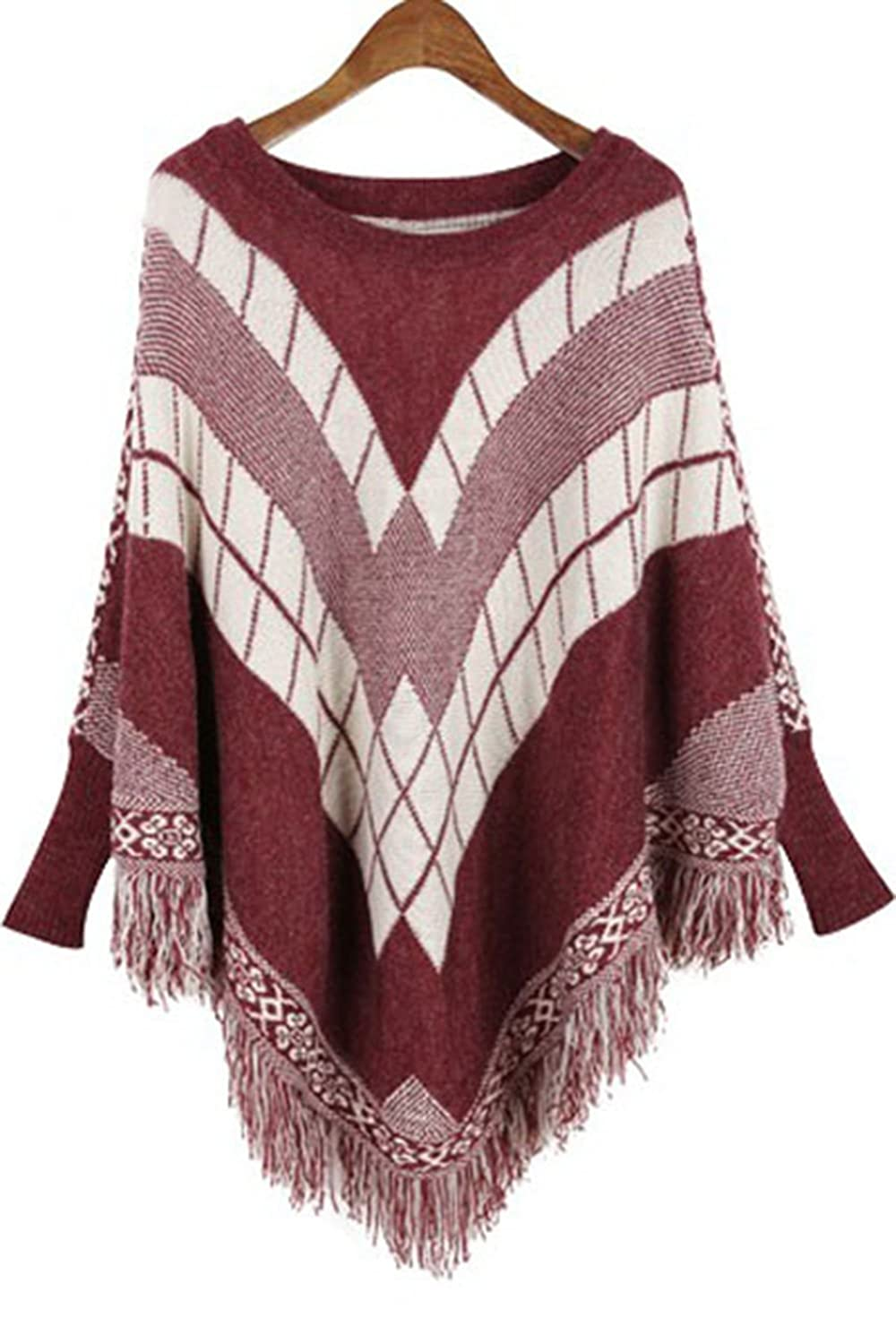 iecool Women's Light Pullover Batwing Patterned Poncho Sweater