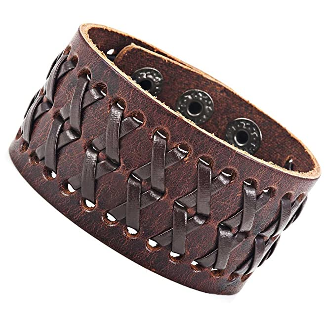 Brown Gypsy Pirate King Leather Wristband Cuff