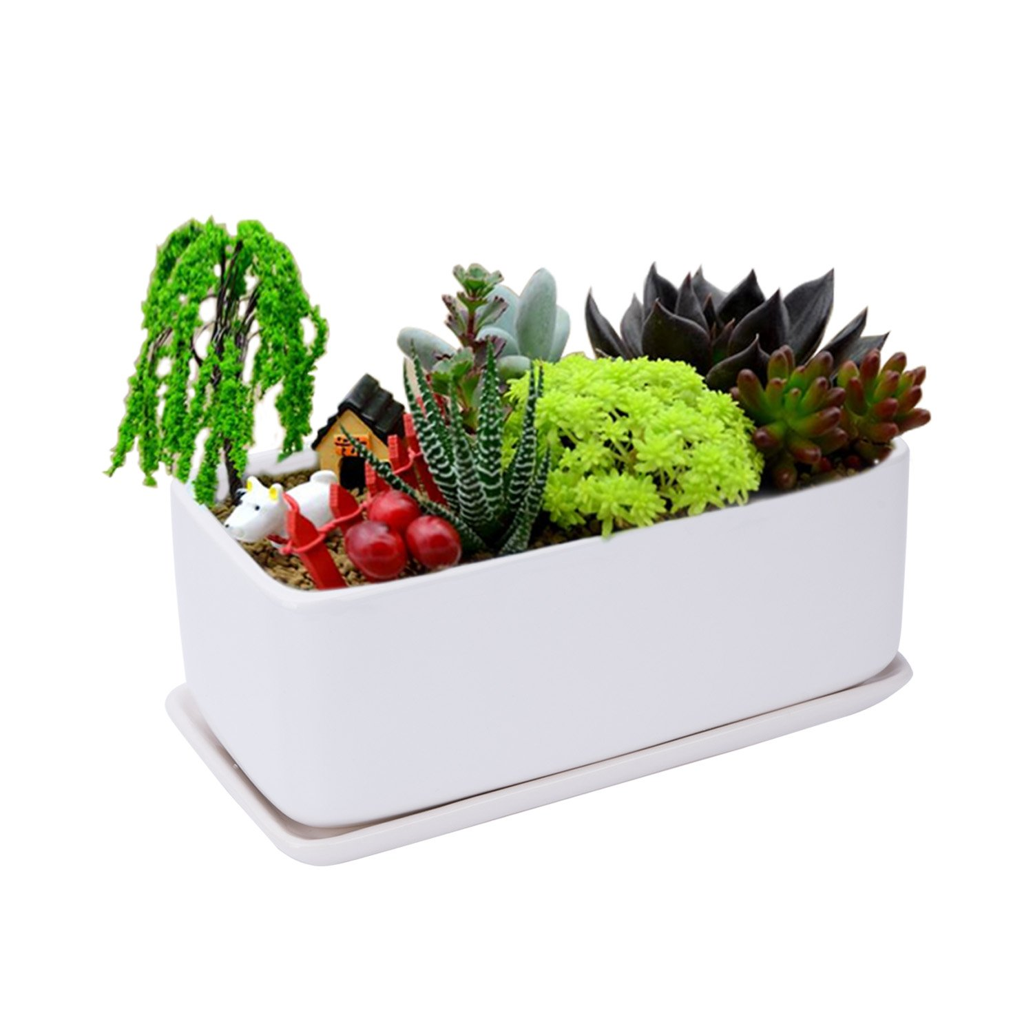 Vencer 12 Inch Large Capacity Modern Minimalist Ceramic Succulent Planter Pot - Window Box with Saucer,Office Desktop Potted Stand,White,VF-063 by Vencer