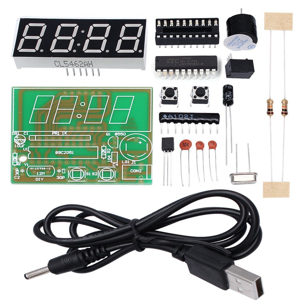 Whdts 4 Bits Digital Clock Kits With Pcb For Soldering Circuits Gt Ac Power Filter And Phone Line Homemade Circuit Practice Learning Electronics Toys Games