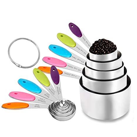 Amazon.com: Juego de 10 tazas y cucharas medidoras, tazas de ...