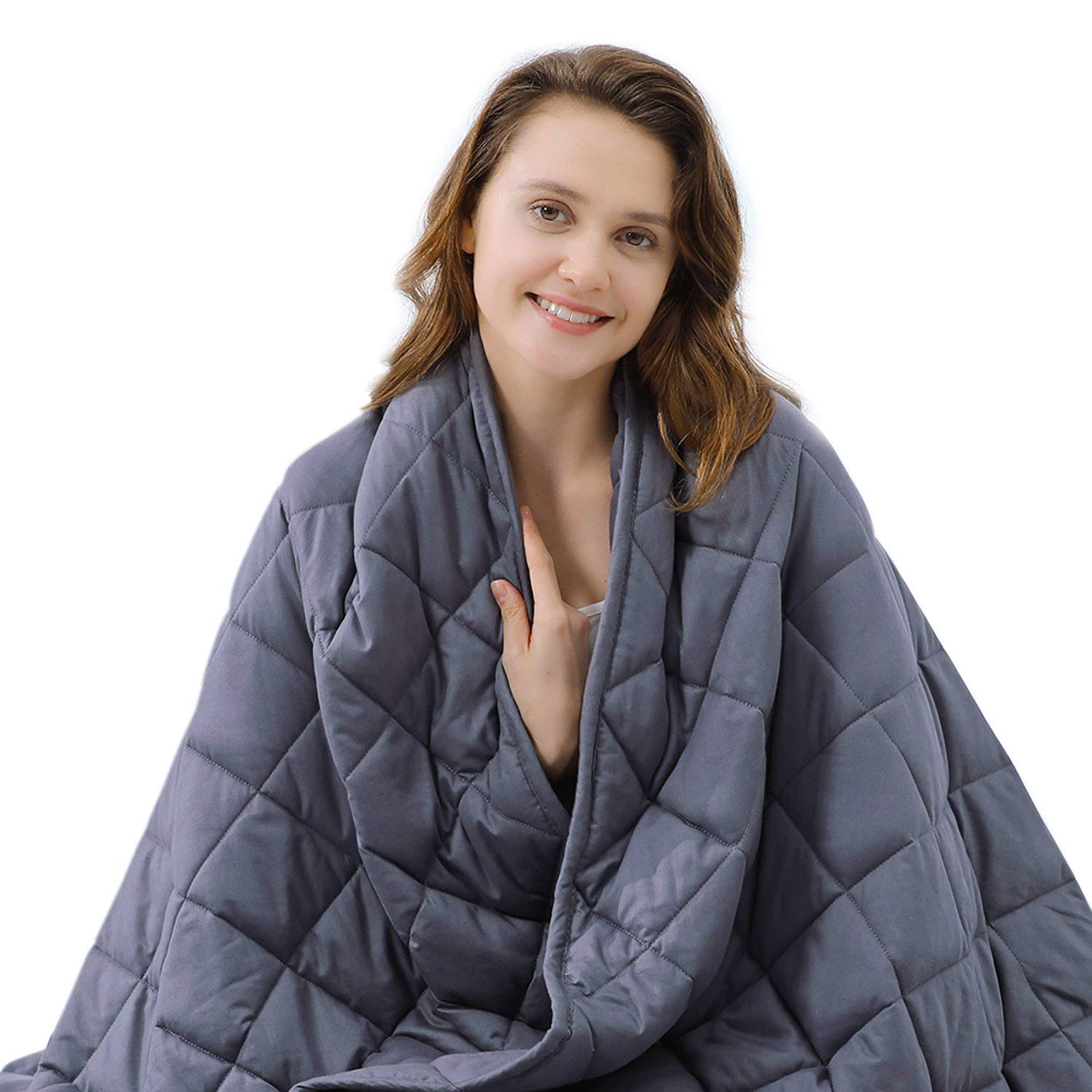 ZZZNEST Weighted Blanket Adult (16 lbs, 60''X80'', 7 Layers) Heavy Blanket for Improving Sleep/Premium Breathable Cotton with Glass Beads for 150-190 lbs, Individual by ZZZNEST