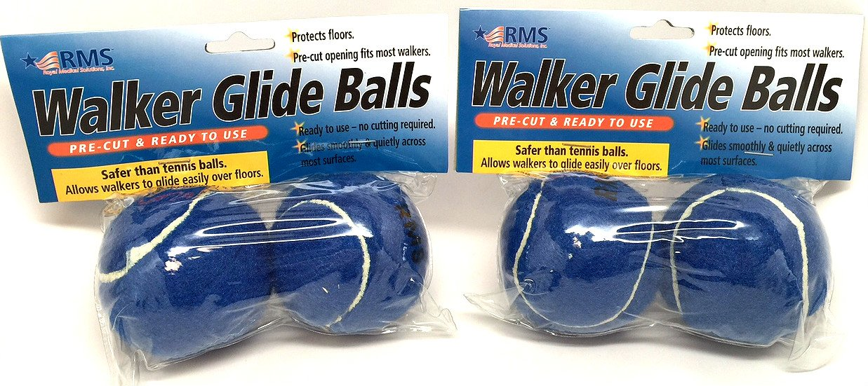 RMS Walker Glide Balls | A Set of 4 Balls | Precut Opening for Easy Installation | Fit Most Walkers (Blue)