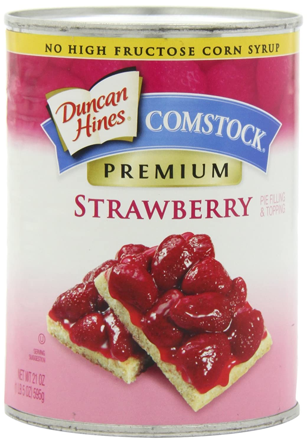 Amazon Com Comstock Premium Fruit Pie Filling Topping Strawberry 21 Ounce Pack Of 4 Pie And Cobbler Fillings Grocery Gourmet Food