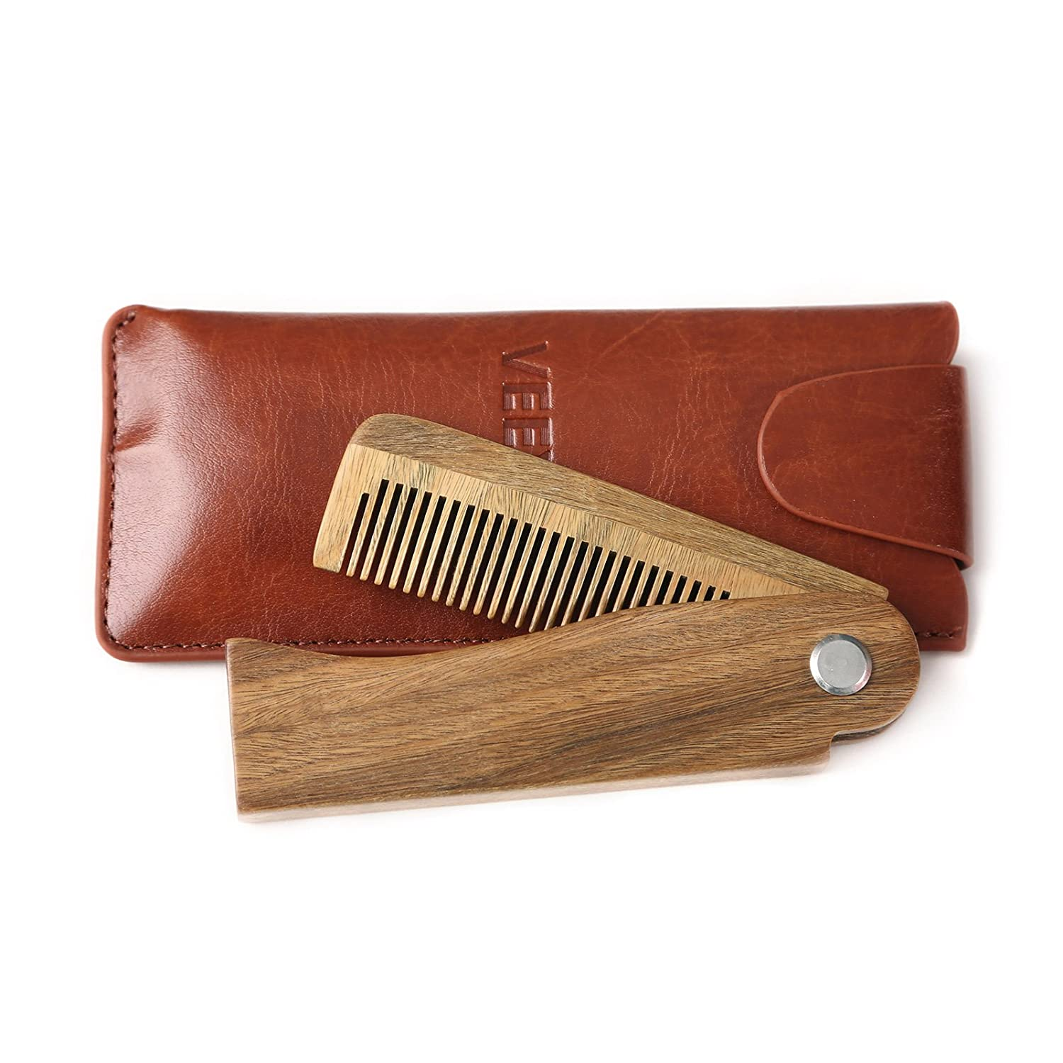 VEEYOO Beard Comb & Case, Fine & Coarse Teeth Pocket Comb for Hair Beard and Mustaches Anti Static Green Sandalwood Comb