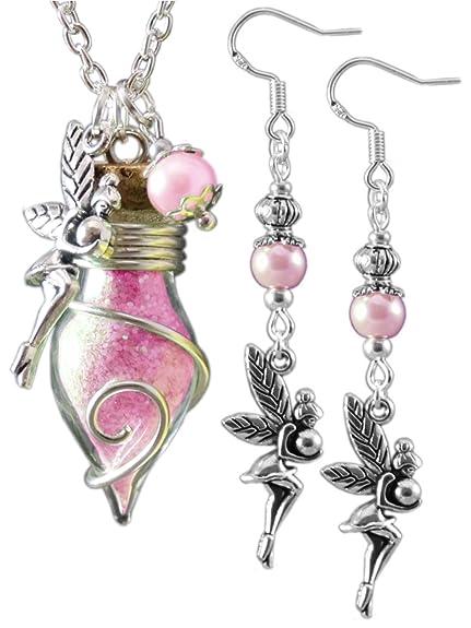 Katharina Fairytale® Juego de collar y pendientes, hadas color rosa, para mujeres.: Amazon.es: Joyería