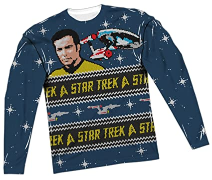 ugly christmas sweater star trek all over long sleeve t shirt