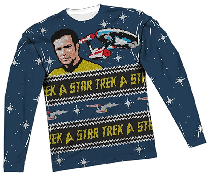 Amazoncom Ugly Christmas Sweater Star Trek All Over Long Sleeve