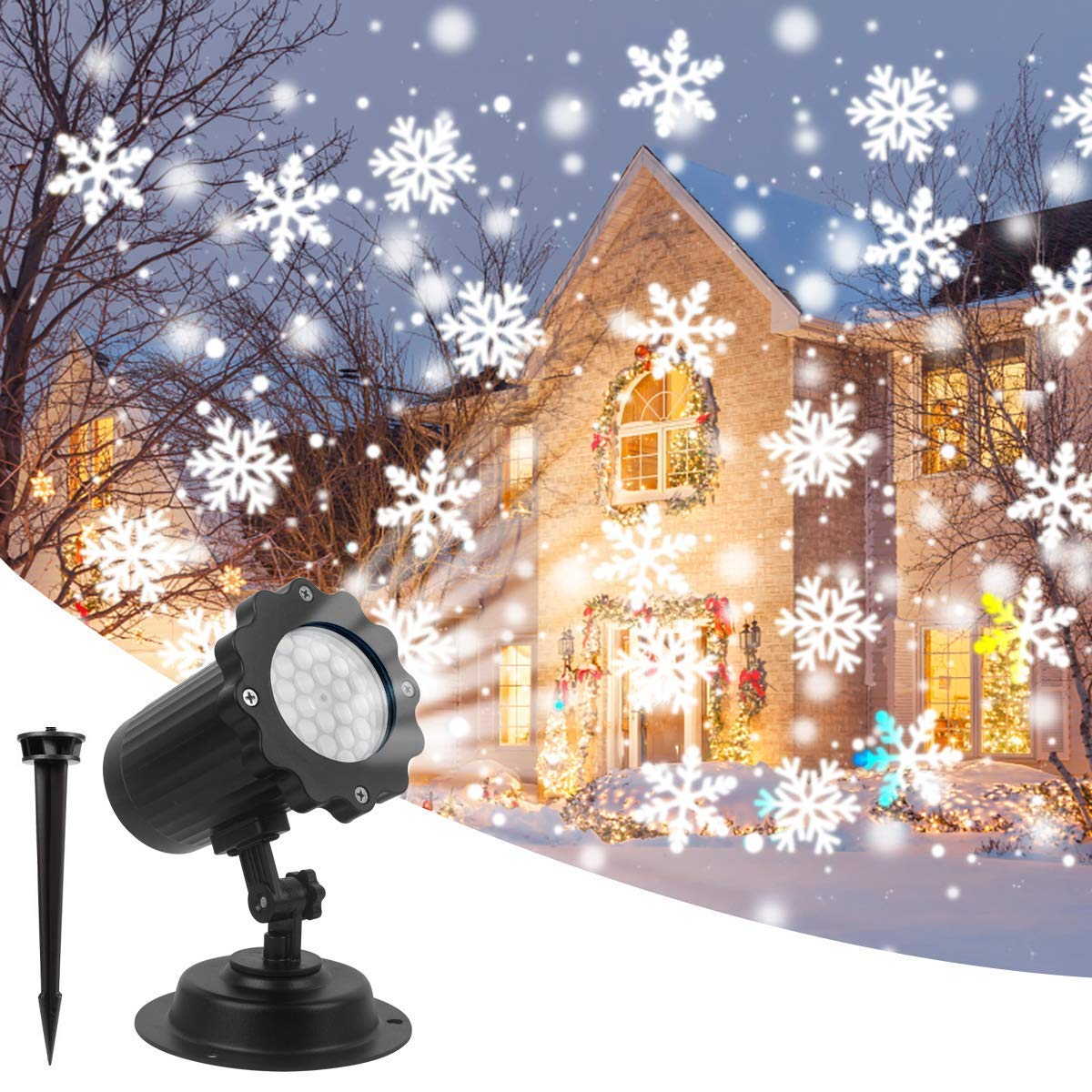 Christmas Projector Lights Amicool Outdoor Halloween Projector Lights Waterproof LED Rotating Night Lights Snowflake Spotlight with 16 Slides for Thanksgiving Party Garden Decoration