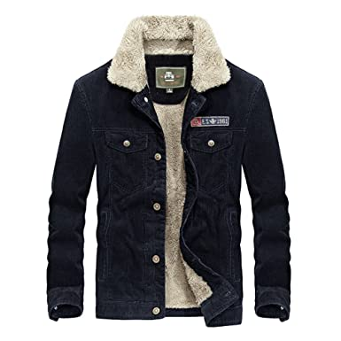 ab2b3dd5 Wintie Men's Retro Corduroy Suede Sherpa Fur Lining Warm Trucker ...
