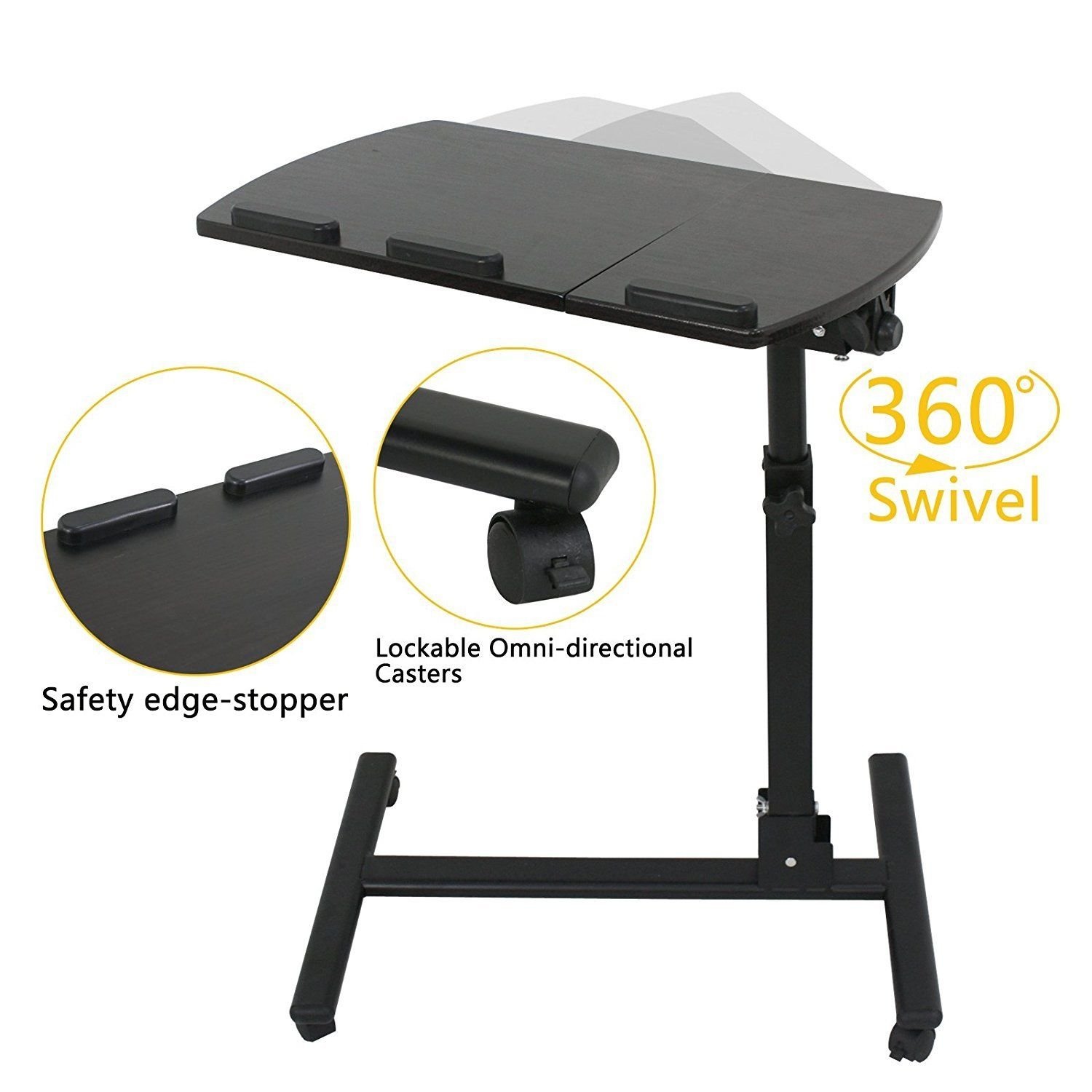 Hospital overbed Bedside Rolling Table - Overbed Table with Wheels - Rolling Over Bed Tray Table Adjustable - Computer Table for Bed with Wheels