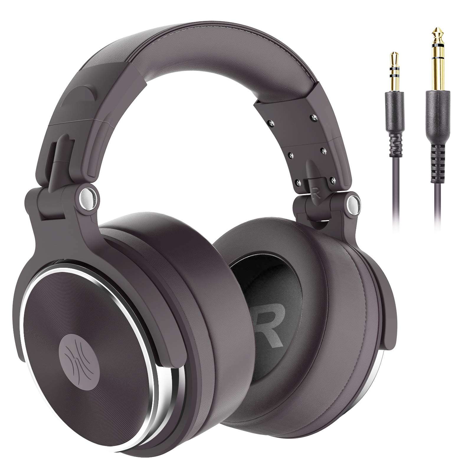 OneOdio Over Ear Studio Headphones for Recording and Mixing, with 50mm Drivers, Top Protein Leather Ear Pads, Wired DJ Headphones for Guitar Amp(Pro-50)(Brown)