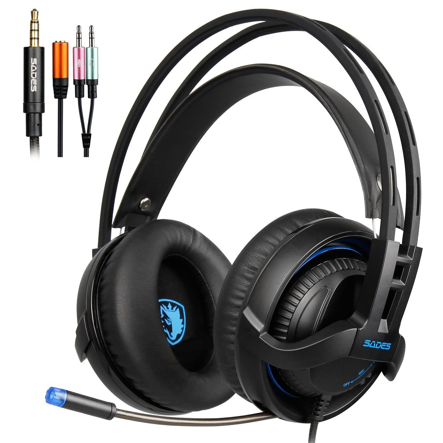 SADES SA935 New Deep Bass headphones with Mic 3.5MM Jack PC Gaming Headset Stereo Professional headsets Noise-Canceling Volume Control LED Light For New Xbox One/PC/PS4/Smartphones(Black)¡