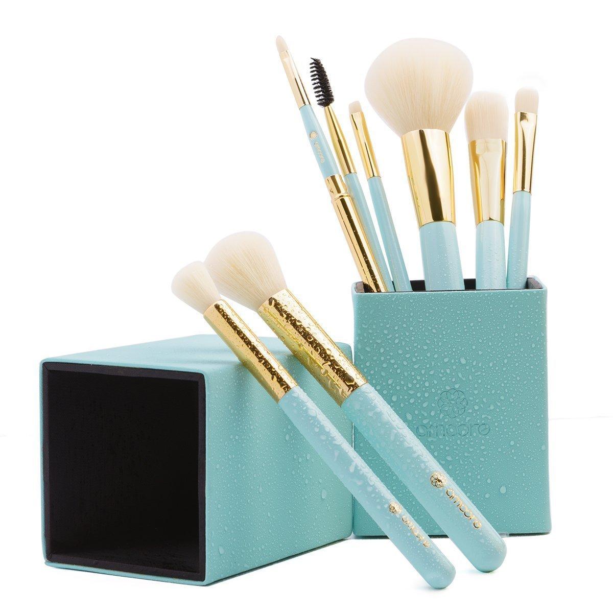 amoore 8 pcs Makeup Brush Set with Makeup Brushes Holder Foundation Brush Powder Brush for Blush Eyeshadow Eyelash Eyebrow and Lip (8 Pcs, Mint Green)