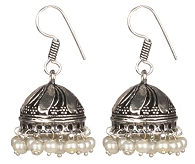 27ffb378b Buy Sansar India German Silver White Beads Trendy Jhumka Jhumki Earrings  for Girls and Women Online at Low Prices in India | Amazon Jewellery Store  ...