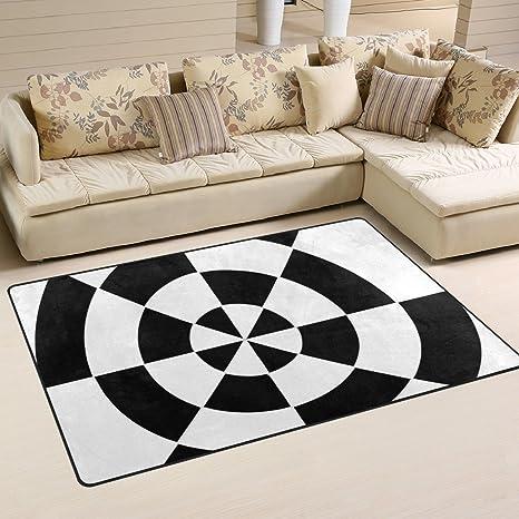 Amazoncom Deyya Black And White Dart Target Non Slip Area Rugs