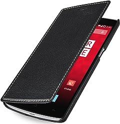 StilGut BookType, custodia a libro in vera pelle per OnePlus One, nero