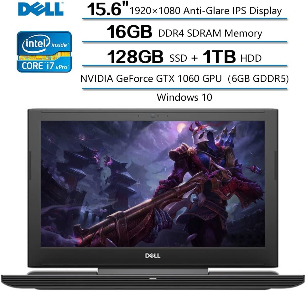 "Dell Inspiron 15 Notebook, 15.6"" FHD Anti-Glare IPS Display, Intel Core I7-7700 (up to 3.8GHz), 16GB DDR4 SDRAM, 1TB HDD+128GB SSD, NVIDIA GeForce GTX 1060 GPU, Windows 10"