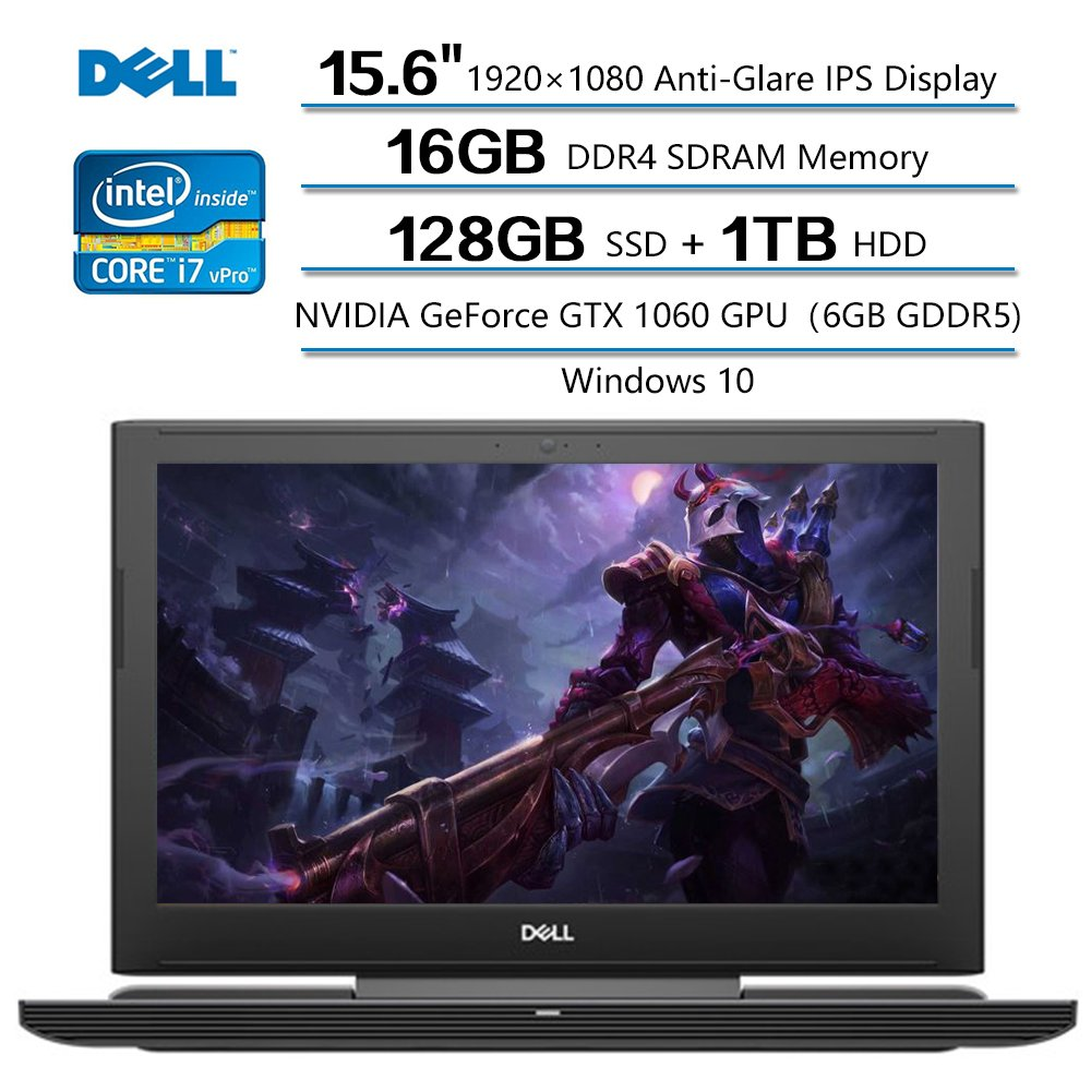 Dell Inspiron 15 Notebook, 15.6 FHD Anti-Glare IPS Display, Intel Core I7-7700 up to 3.8GHz , 16GB DDR4 SDRAM, 1TB HDD 128GB SSD, NVIDIA GeForce GTX 1060 GPU, Windows 10