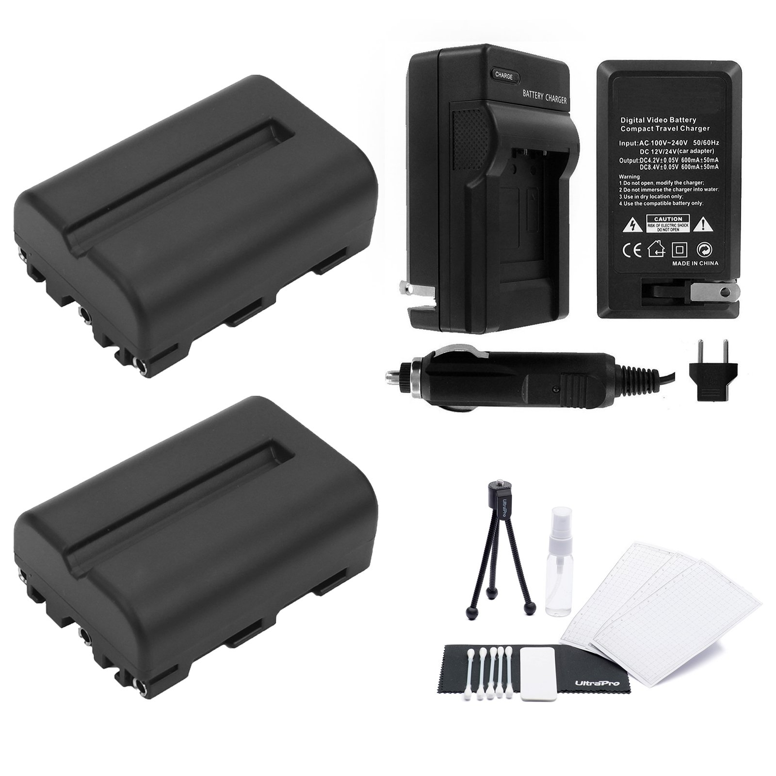 NP-FM500H Battery 2-Pack Bundle with Rapid Travel Charger and UltraPro Accessory Kit for Select Sony Cameras Including Alpha A58, A65, A77, and A99