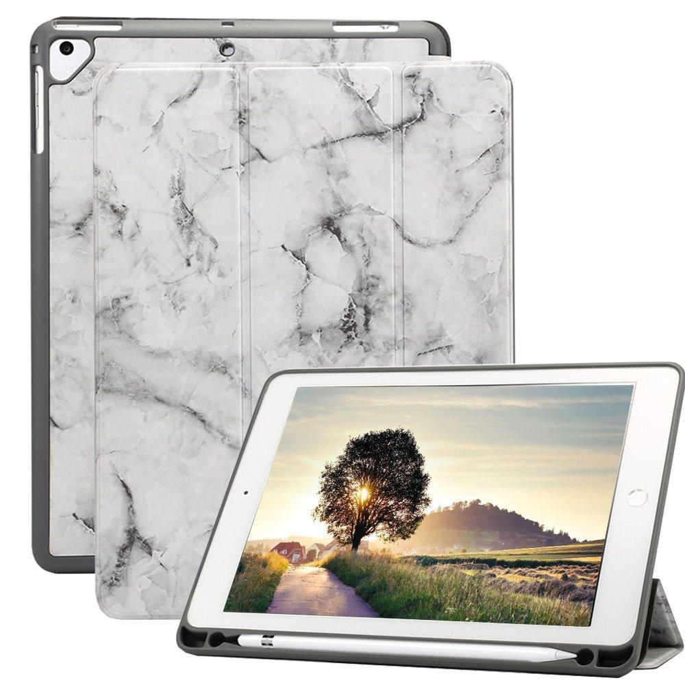 A-BEAUTY iPad 9.7 2018/2017 Funda con Pencil Holder, Ultra Delgado TPU Honeycomb Soporte Triple y Auto Sueño/Estela para Apple iPad 9.7 2018/2017/iPad Pro 9.7/iPad Air 2/Air, Mármol Negro Ash