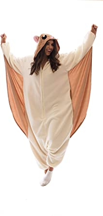 Amazon Com Adult Onesie Flying Squirrel Animal Pajamas Comfortable Costume With Zipper And Pockets Large Tan Clothing