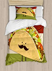Ambesonne Food Duvet Cover Set, Mexican Taco with Mustached Face Rolled with Veggies Humor Comic Childish Art, Decorative 2 Piece Bedding Set with 1 Pillow Sham, Twin Size, Paprika Green