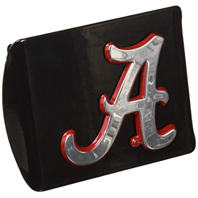 AMG University of Alabama Metal Emblem (Chrome with Crimson Trim) on Black Metal Hitch Cover: Automotive