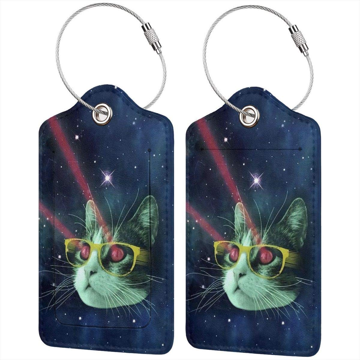 Godzigod Travel Luggage Tags PU Leather Bag Tags Suitcase Baggage Label Handbag Tag with Full Back Privacy Cover Steel Loops Red Meme Laser Cat Glasses