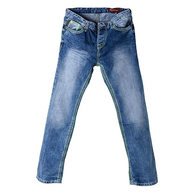 para Hombre Pantalones Vaqueros Used Look con Costura Verde ...