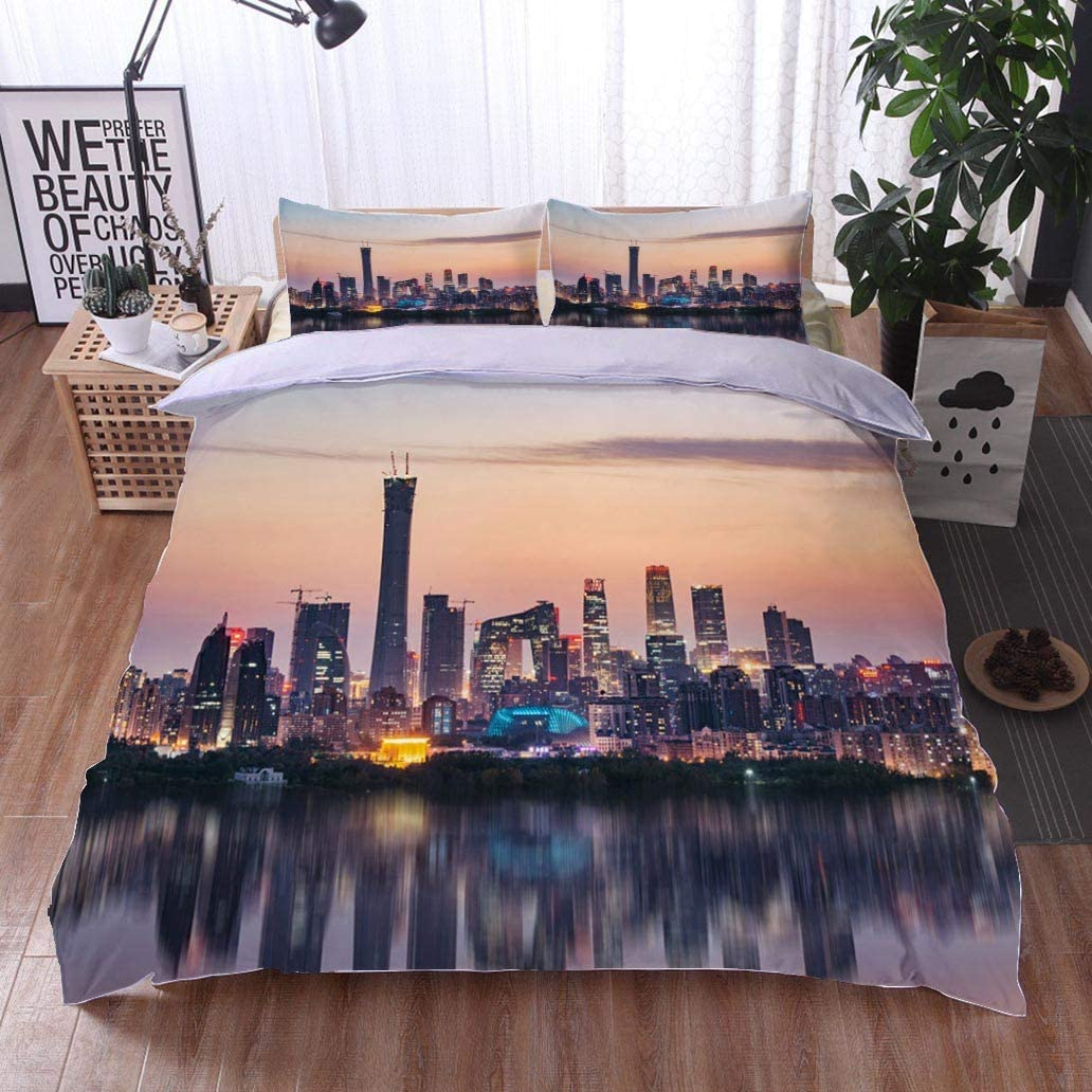 Home Duvet Cover Set,High Angle View of Beijing Skyline at Dusk,Soft,Breathable,Hypoallergenic,Print Quilt Cover Set White Queen Pattern Bedding Collection