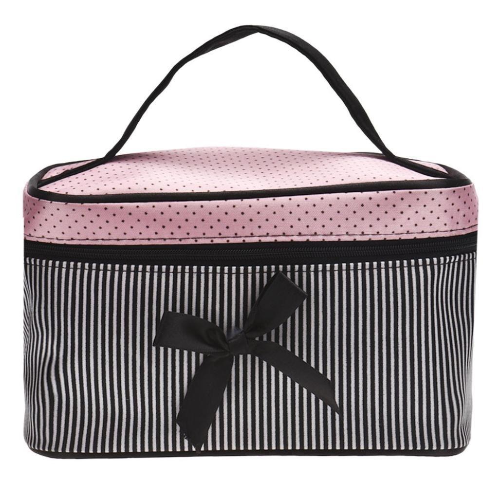 YJYdada Square Bow Stripe Cosmetic Bag (Black)