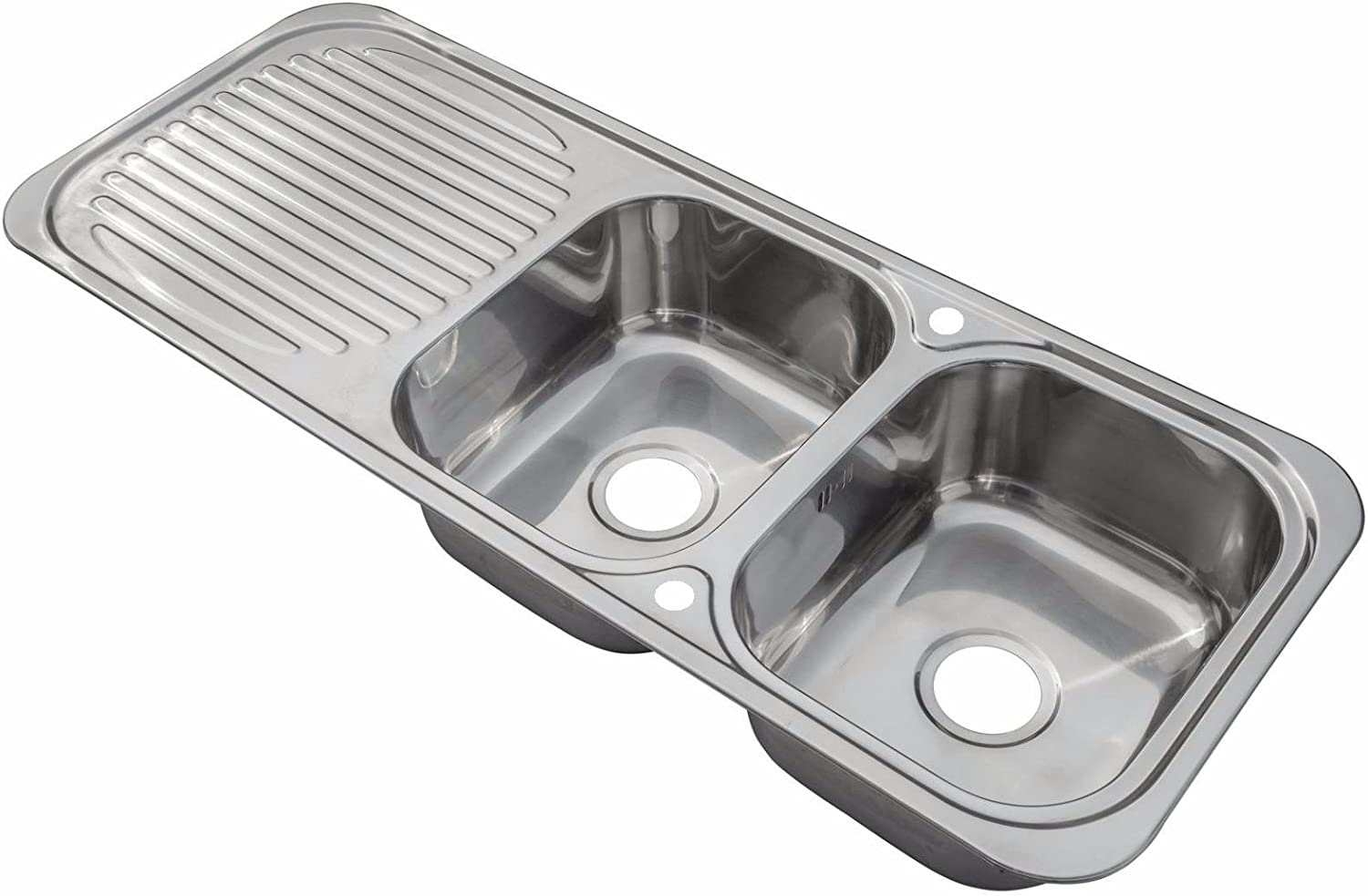 Grand Taps Stainless Steel Inset Kitchen Sink Double Bowl with Drainer & Wastes (E10 mr) Polished Finish