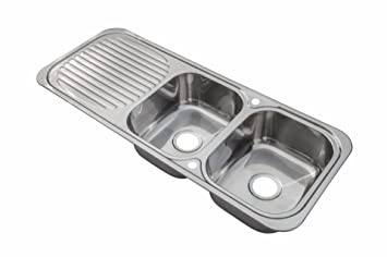 Stainless Steel Inset Kitchen Sink Double Bowl With Drainer Wastes E10 Mr Polished