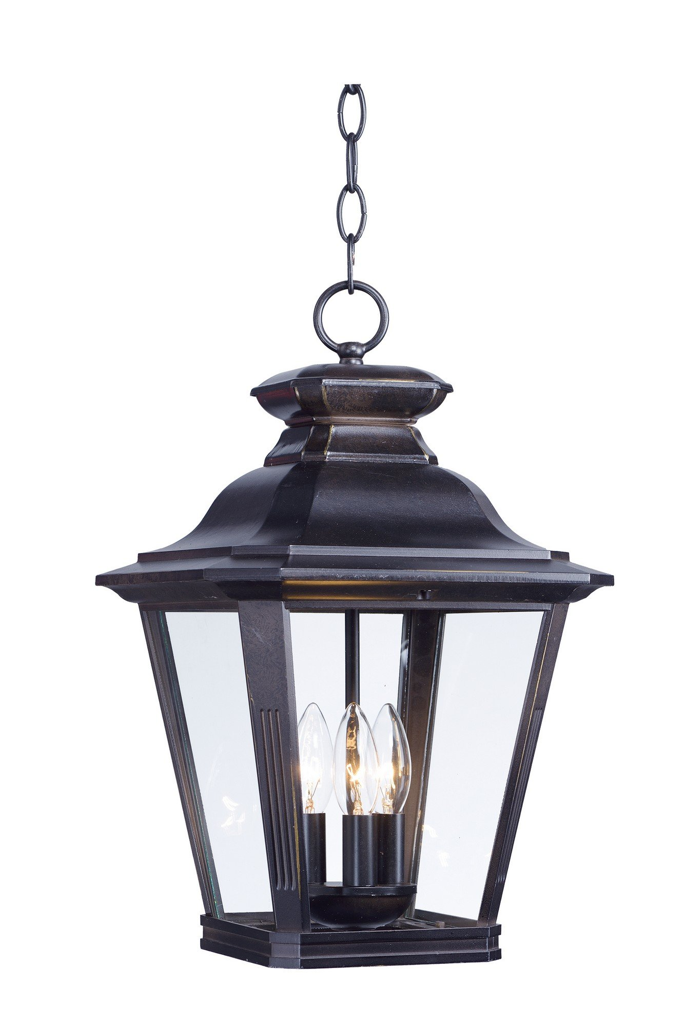 Maxim 1139CLBZ Knoxville 3-Light Outdoor Pendant, Bronze Finish, Clear Glass, CA Incandescent E12 60 Bulb , 17W Max., Damp Safety Rating, 2700K Color Temp, Acrylic Shade Material, 2600 Rated Lumens by Maxim Lighting