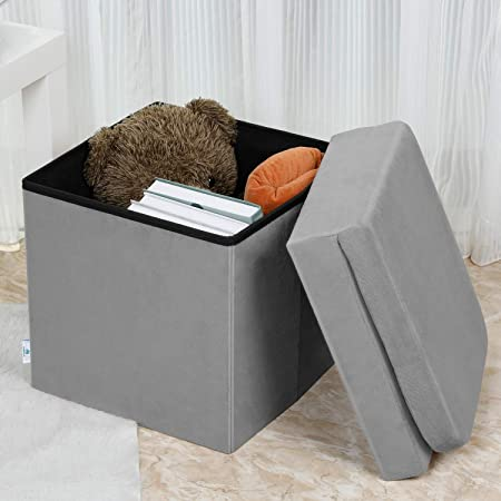 B FSOBEIIALEO Velvet Storage Ottoman with Seat Back, Folding Chair for Living Room, Room Organizer Storage Cubes, Toy Chest Storage Box Grey, Medium