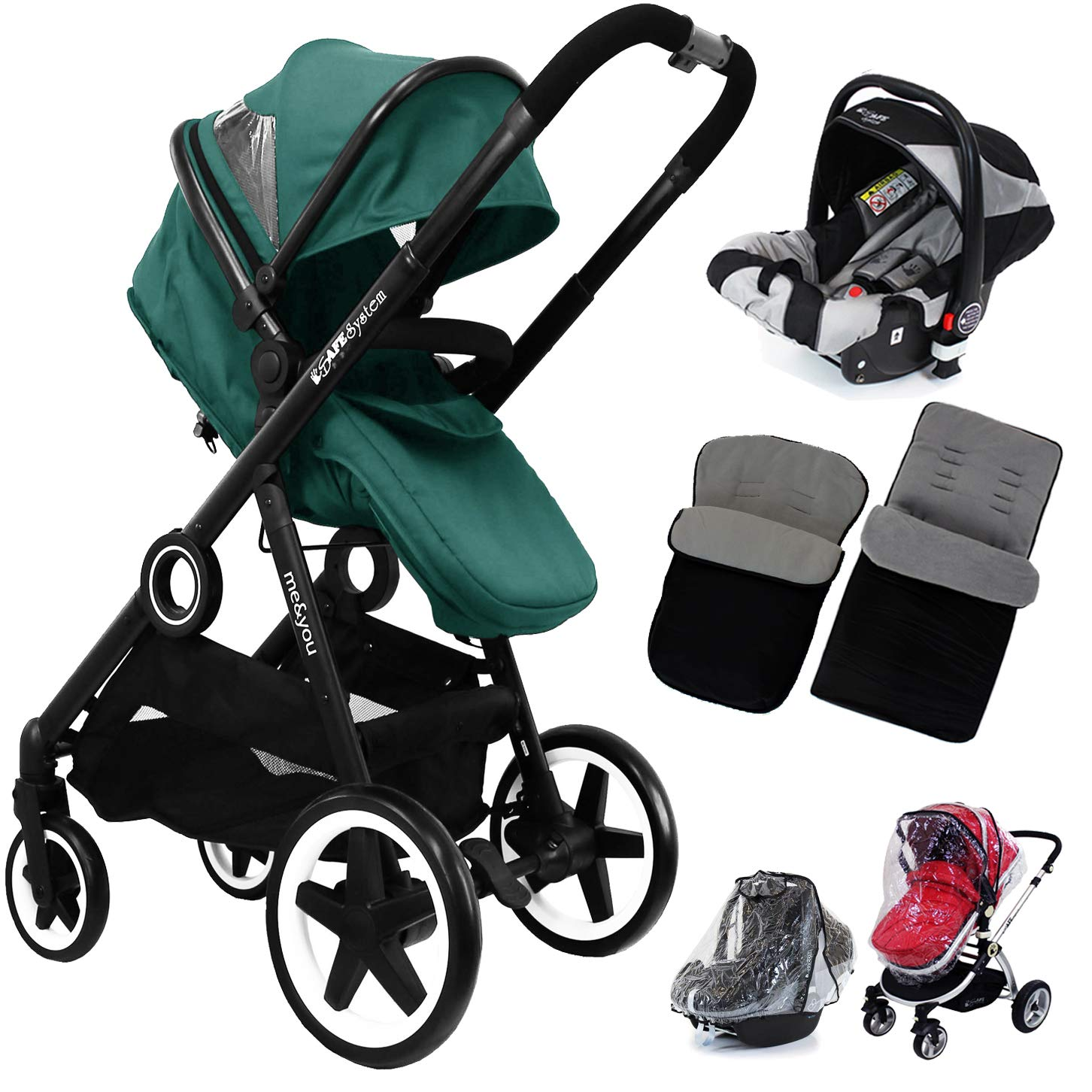iSafe Me&You 2in1 Pram with iSafe Car Seat & X2 Footmuffs & Rain Covers - Teal