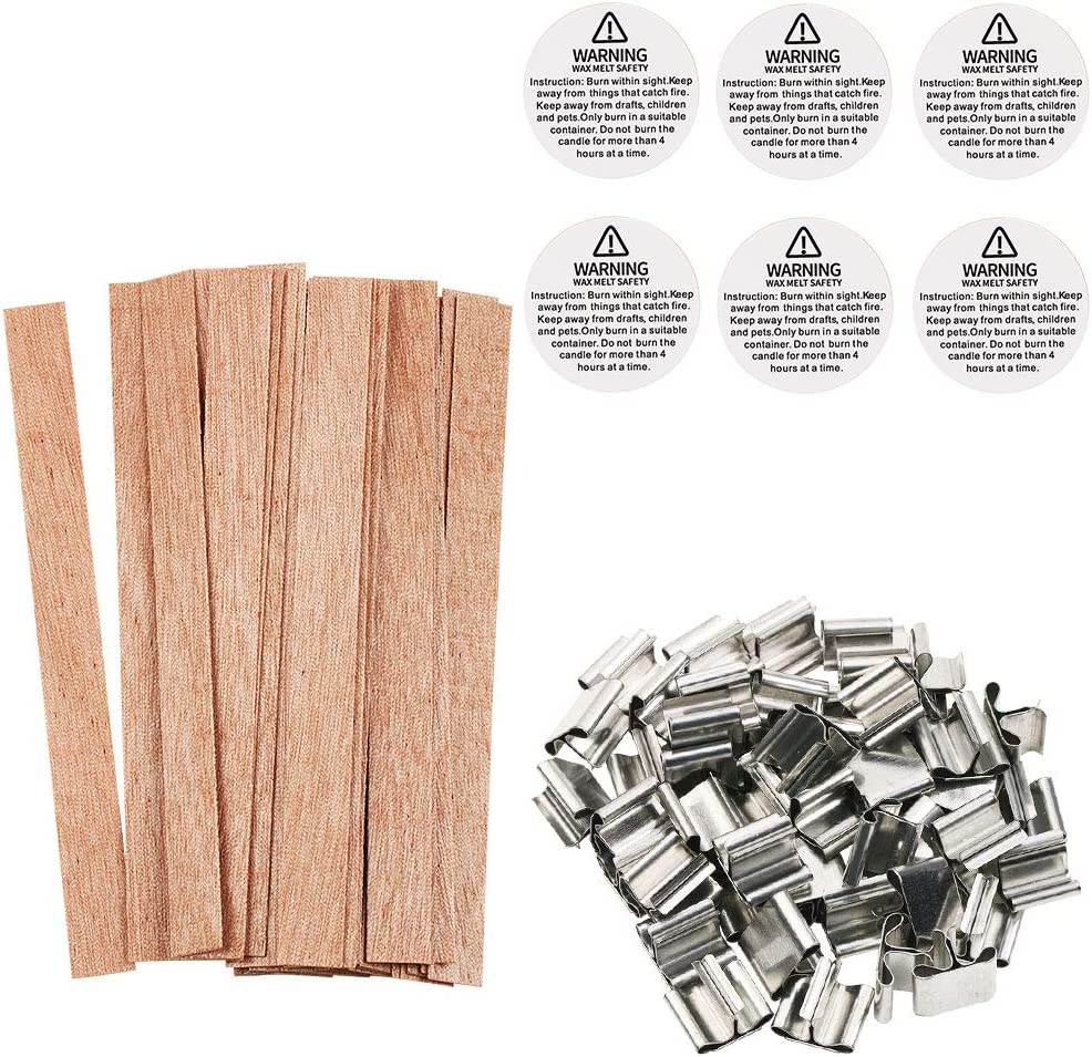 Wood Wick with Metal Base 40 Piece Large Natural 5 Wooden Wick with Anchor for DIY Candle Making Candle DIY 13013 mm 20 Set