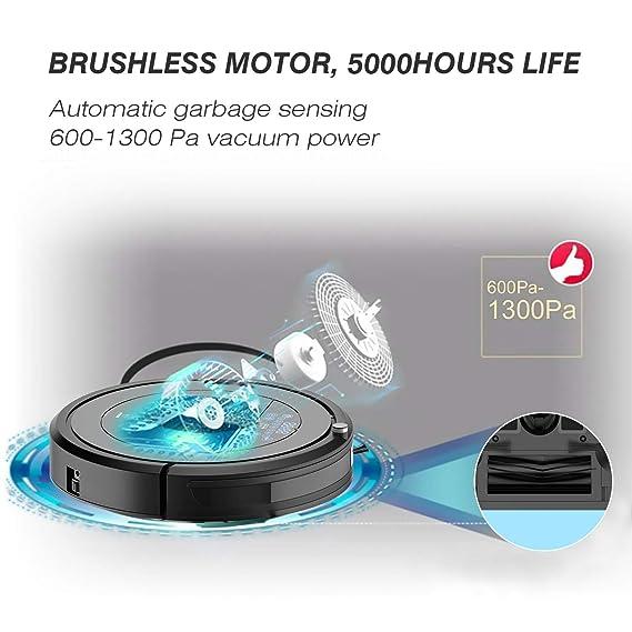 PREUP Robot asprador, aspiradoras hogar, 1300Pa Super succión de 3 Lados, 5 avanzados Modos, 0.9L Super Grande Bandeja, Mini-Ruedas de Todoterreno, ...