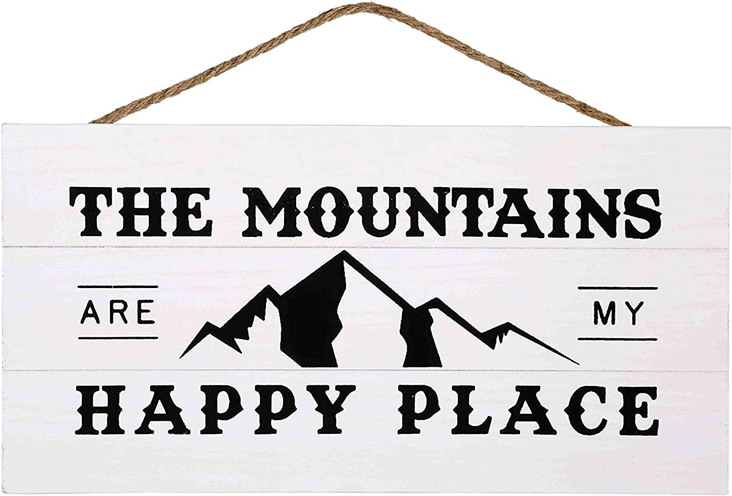 Mountains are My Happy Place Wood Plank Hanging Sign for Home Decor (13.75 x 6.9 Inches with White Background)