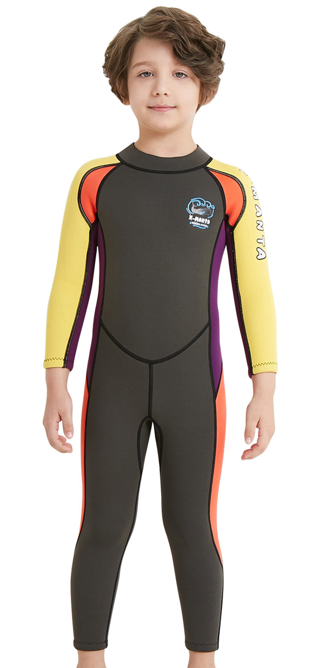 DIVE & SAIL Boys 2.5mm Diving Suit Warm Long Sleeve Full Wetsuit Back Zipper One Piece Swimsuit Grey S