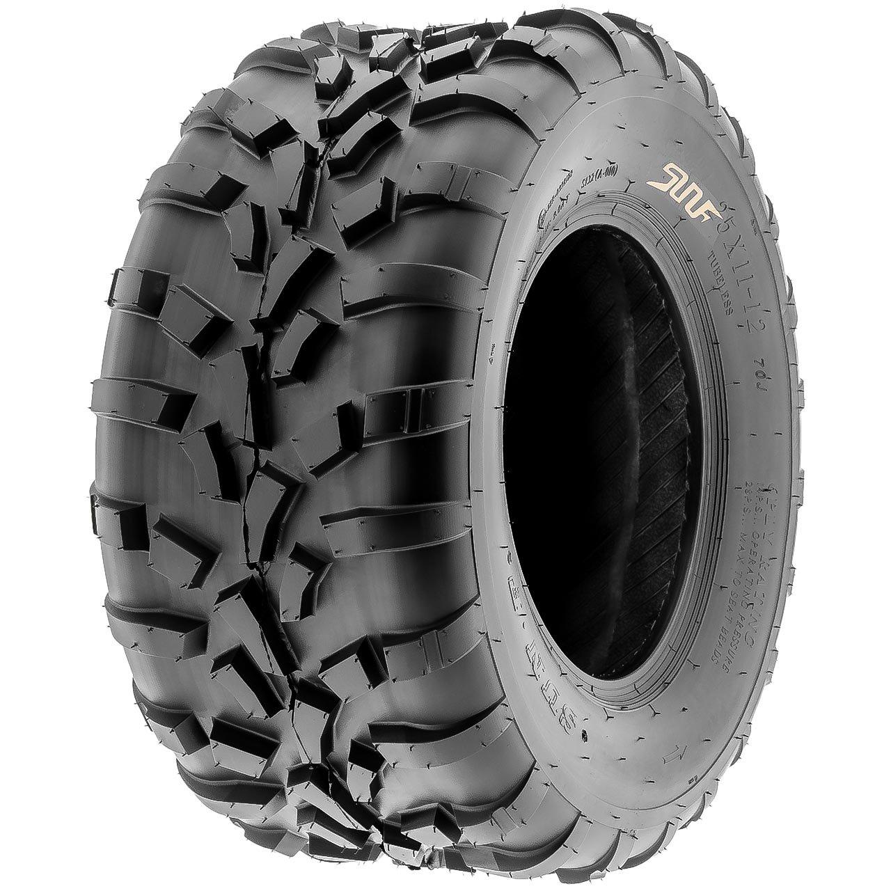 SunF 25x10-12 (25x10x12) ATV/UTV Off-Road Tire, 6PR, Directional Knobby Tread | A010