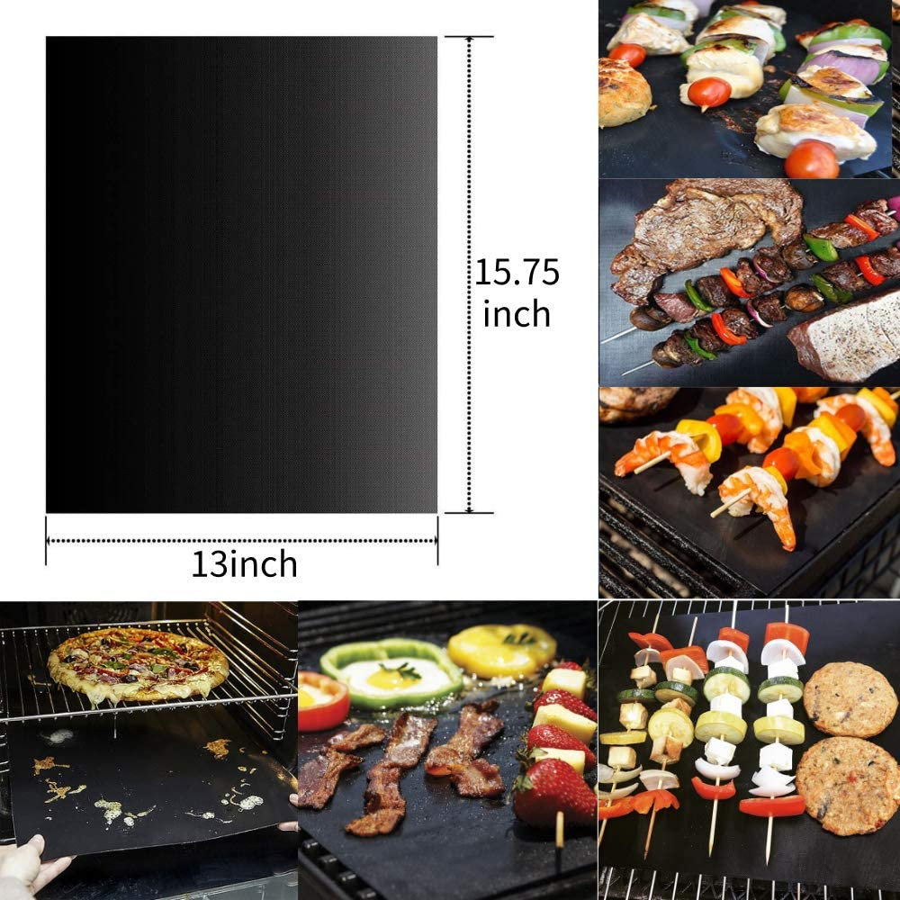 "BBQ Grill Mat 5 PACK Non Stick Baking Teflon Pad Reusable 15.75"" x 13"" Black NEW"