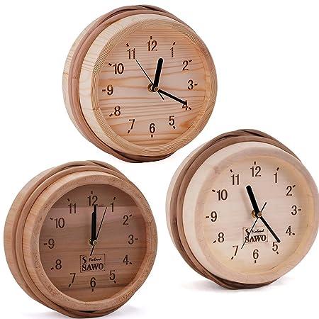 Sawo Sauna Wooden Clock Pine Aspen Or Cedar Size ø 260mm For