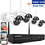 【2019 Update】Wireless CCTV Camera Systems,SMONET 4CH 1080P Wireless Security Camera System(1TB Hard Drive), 4pcs HD Waterproof CCTV Cameras,Easy Remote View,Bullet Cameras with Super Night Vision,P2P