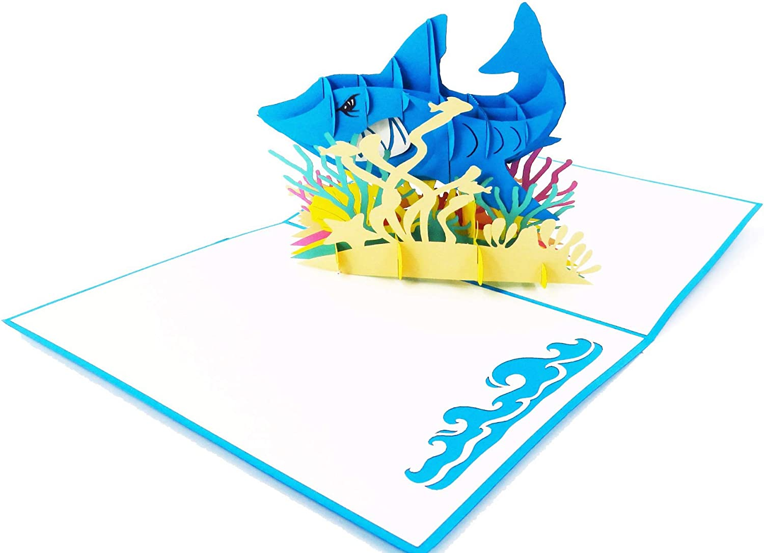 White Shark Pop Up Card, 3D Popup Greeting Card - Ocean Birthday Pop Up Card, Congratulations, Thank you, Get Well for Friend, for son, for husband, for children | Pop Card Express