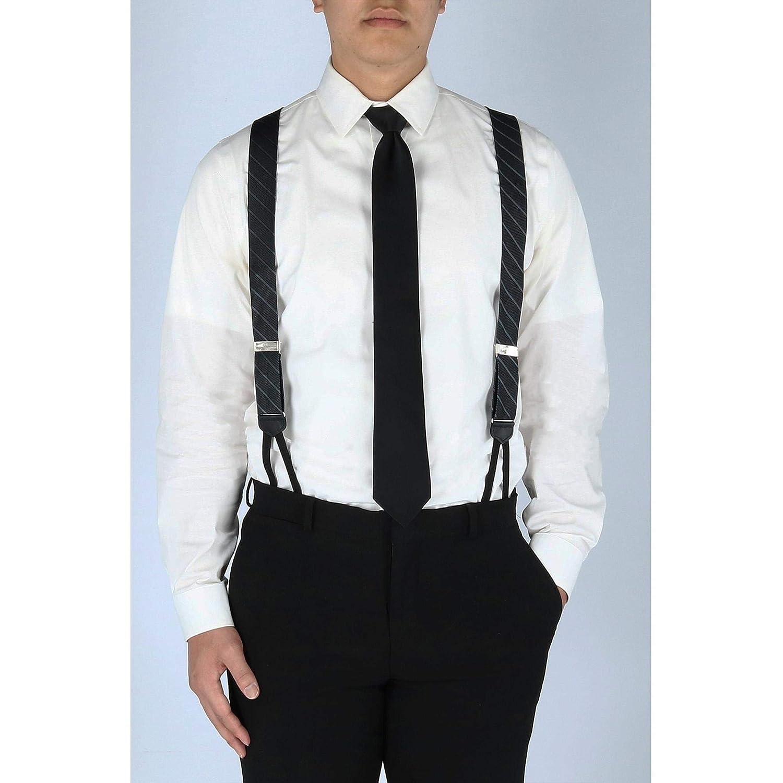 CrookhornDavis Mens Millionaire Row Dash Rep Stripe Silk Formal End Braces Suspenders
