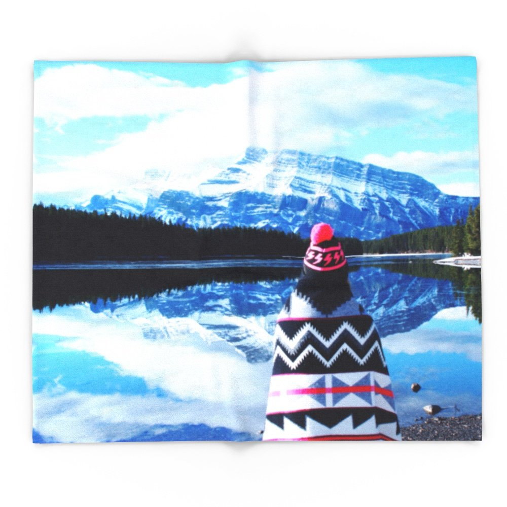 Society6 Girl At Two Jack Lake 88'' x 104'' Blanket